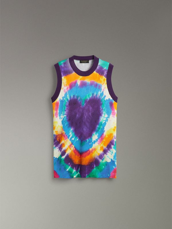 Tie-dye Print Cashmere Vest in Multicolour | Burberry - cell image 3