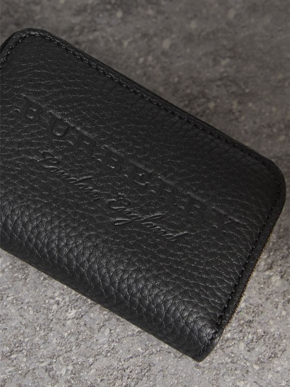 Textured Leather Ziparound Coin Case in Black - Men | Burberry Canada - cell image 1