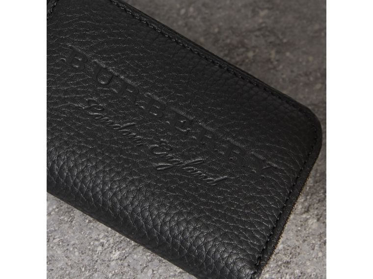 Textured Leather Ziparound Coin Case in Black - Men | Burberry Singapore - cell image 1