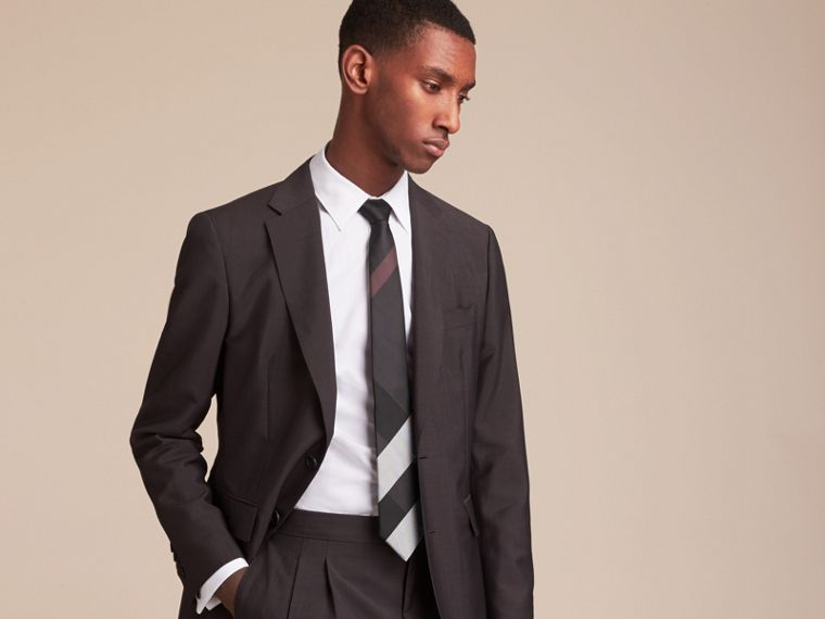 Modern Cut Check Silk Tie in Charcoal - Men | Burberry - cell image 2