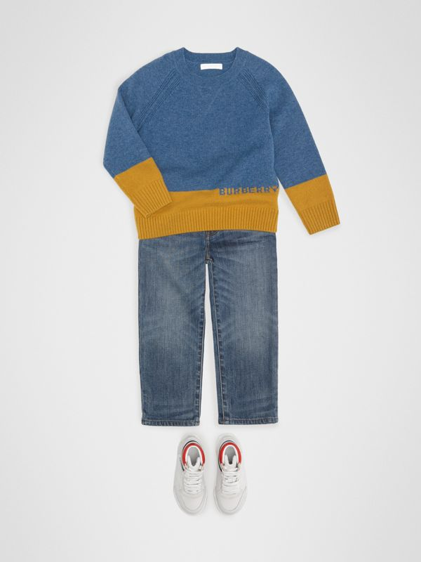 Logo Intarsia Cashmere Sweater in Dusty Blue Melange | Burberry Singapore - cell image 2