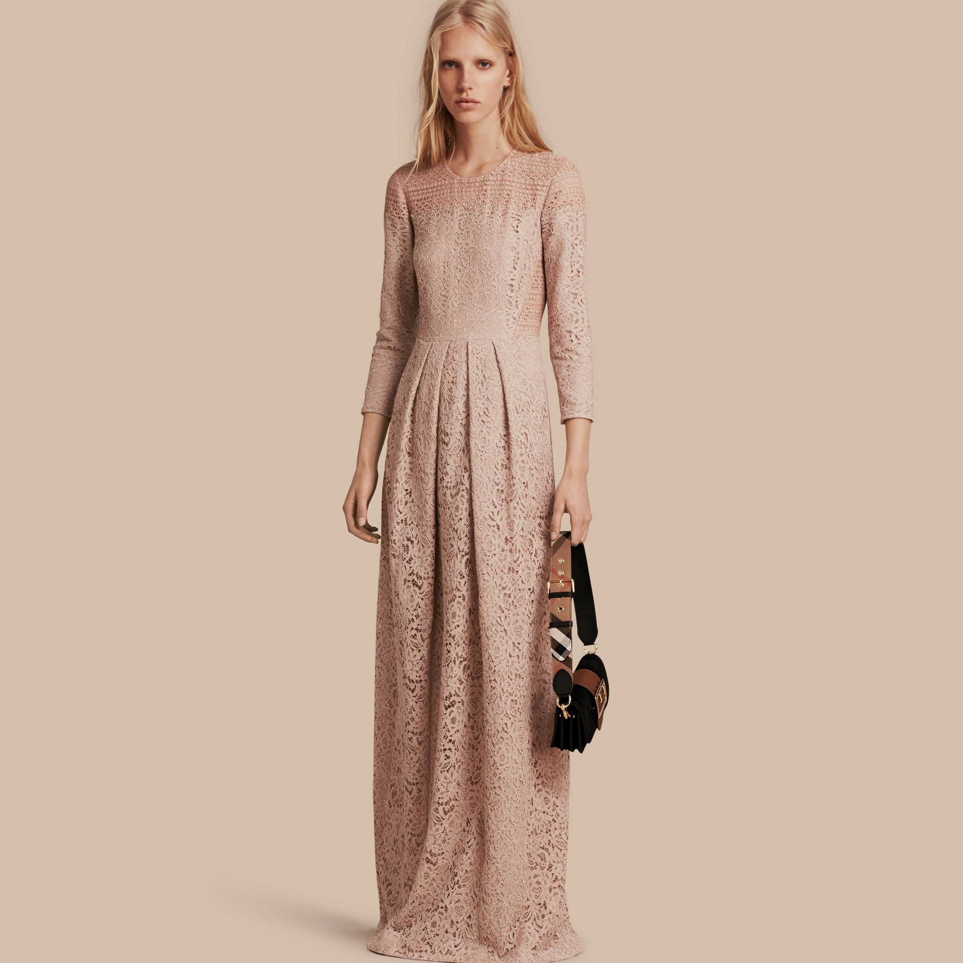 Antique taupe pink Italian Lace Dress - gallery image 1
