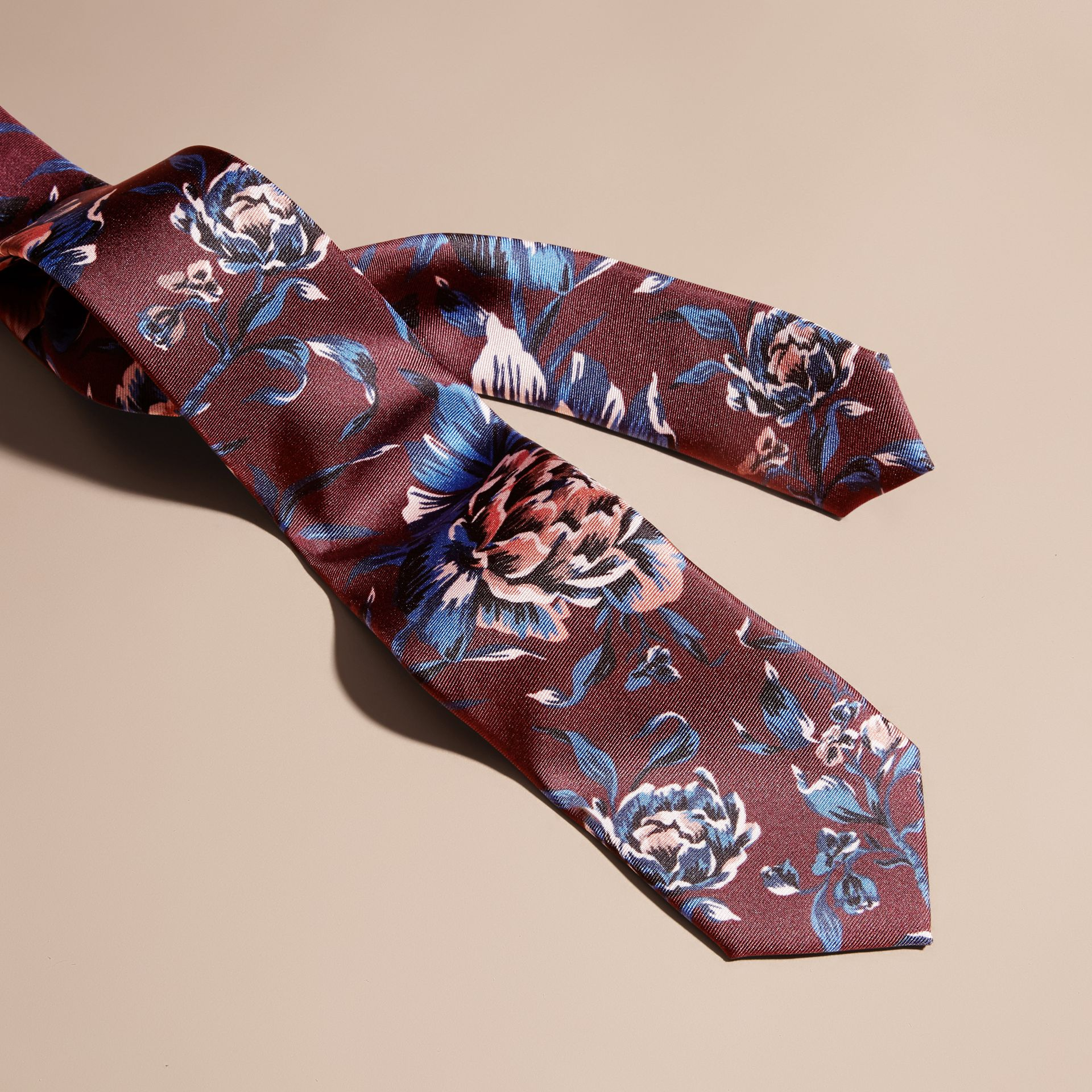 Slim Cut Peony Rose Print Silk Tie in Deep Claret - gallery image 2