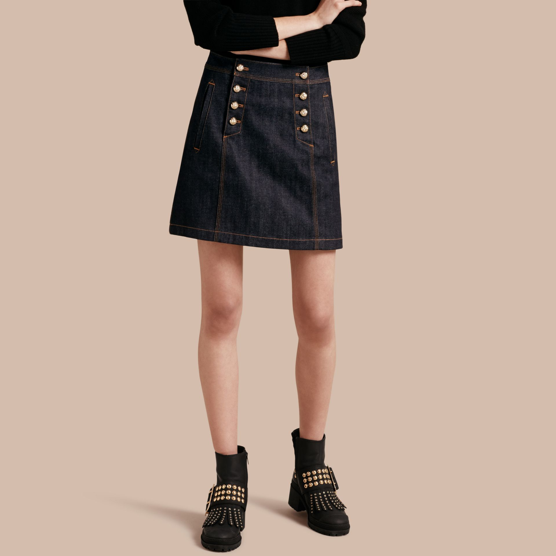 Denim A-line Skirt - gallery image 1
