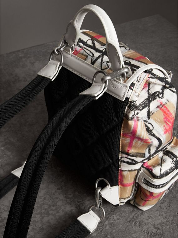 The Small Crossbody Rucksack in Scribble Check in Chalk White - Women | Burberry - cell image 2