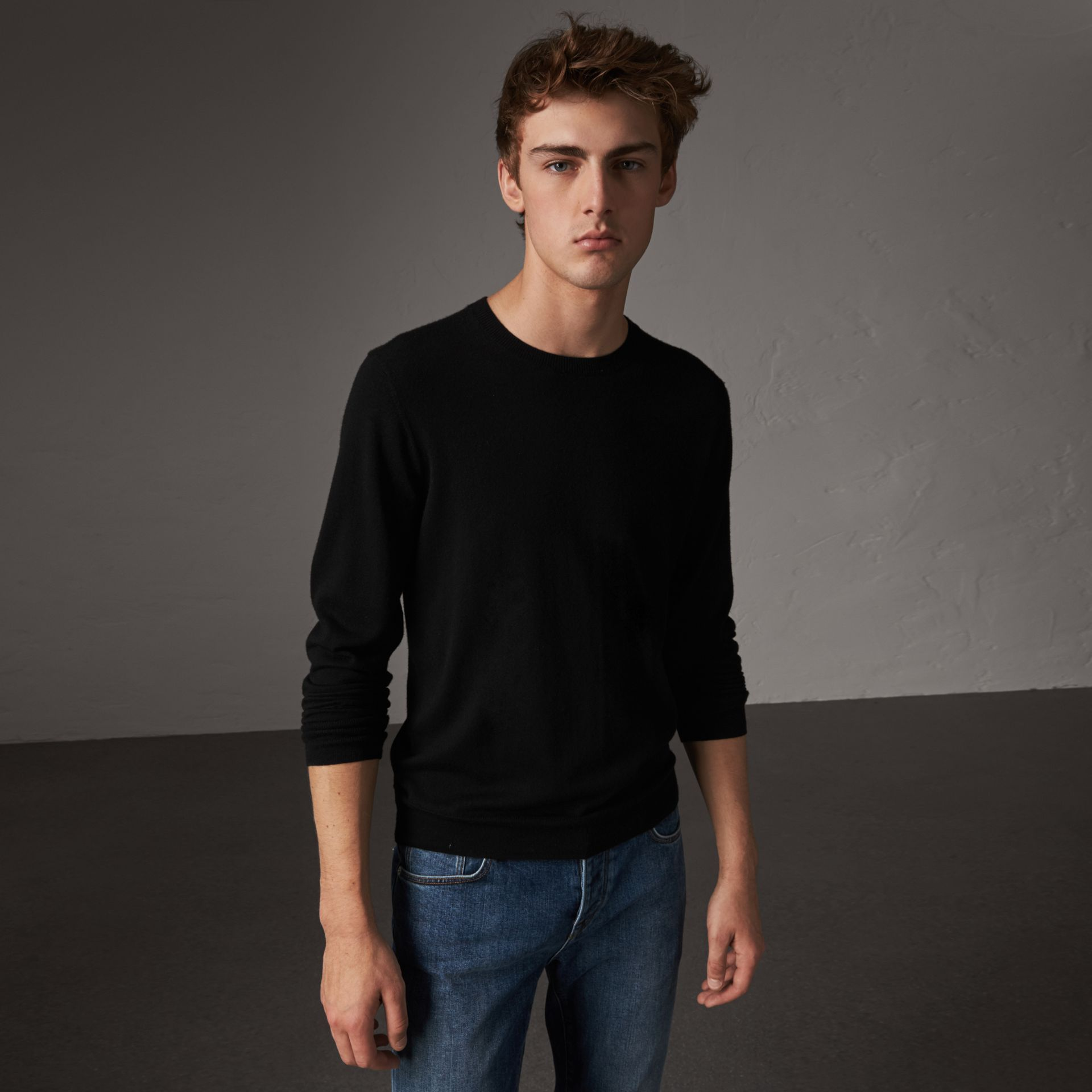 Check Jacquard Detail Cashmere Sweater in Black - Men | Burberry - gallery image 0