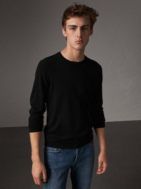 Check Jacquard Detail Cashmere Sweater in Black
