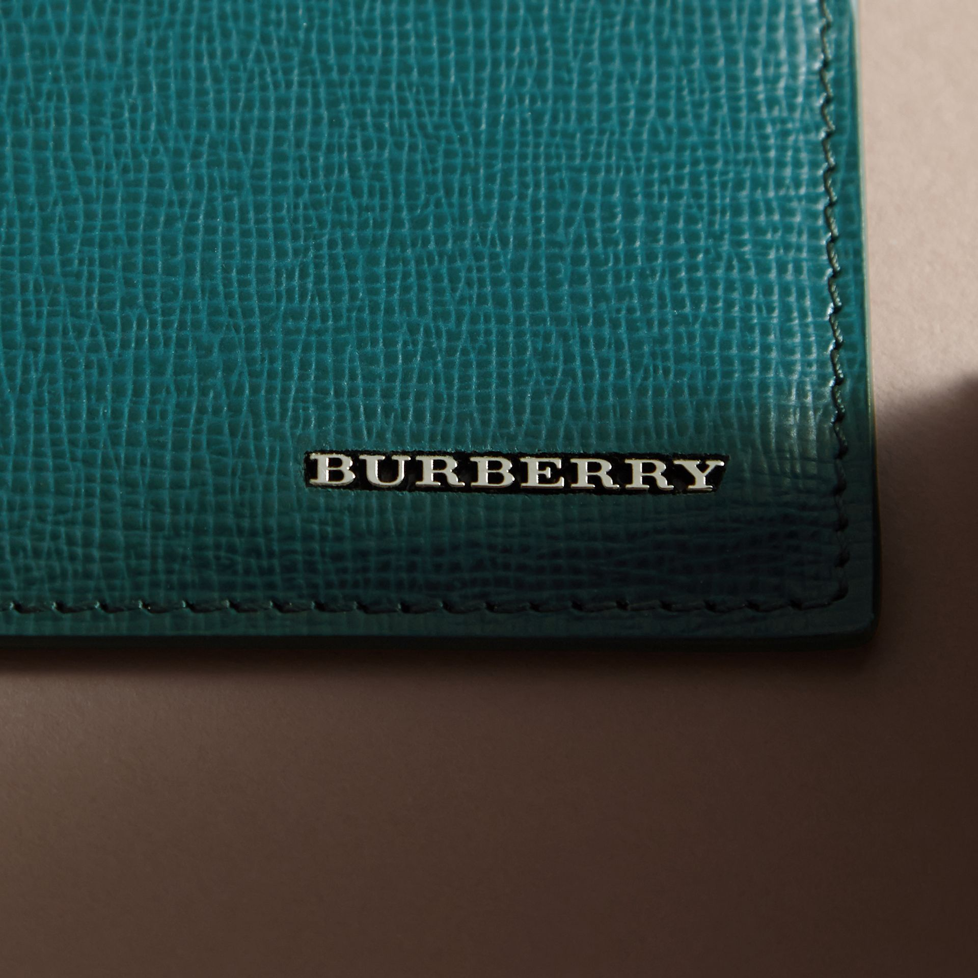 London Leather Card Case in Dark Teal | Burberry - gallery image 1