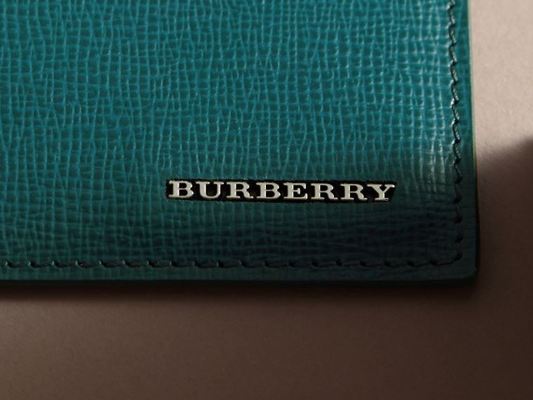London Leather Card Case in Dark Teal | Burberry United Kingdom - cell image 1