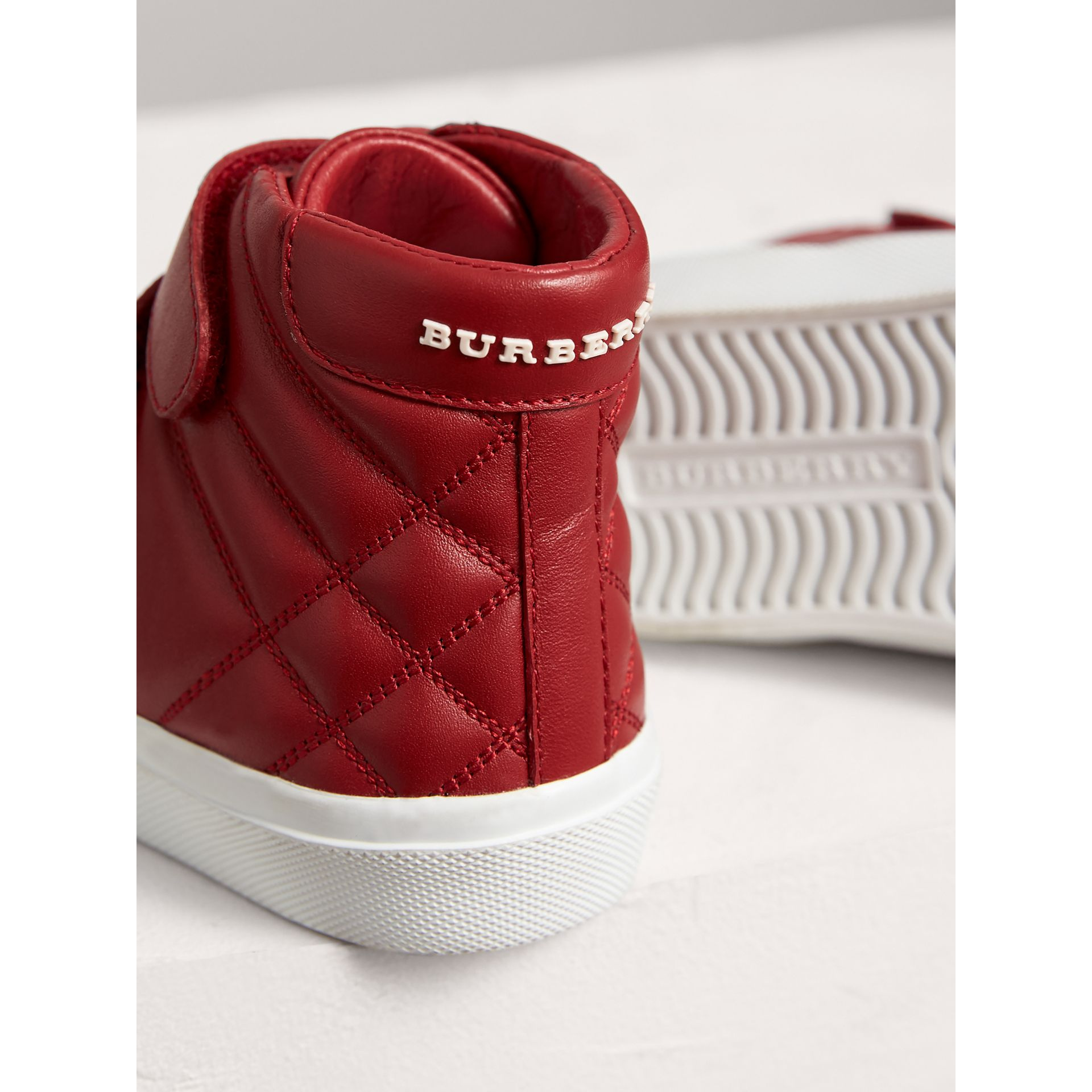 Check-quilted Leather High-top Sneakers in Parade Red | Burberry Canada - gallery image 1