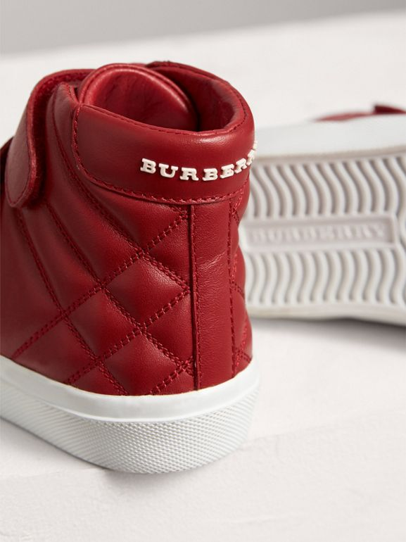Check-quilted Leather High-top Sneakers in Parade Red | Burberry - cell image 1