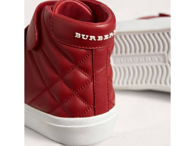 Check-quilted Leather High-top Sneakers in Parade Red | Burberry United Kingdom - cell image 1