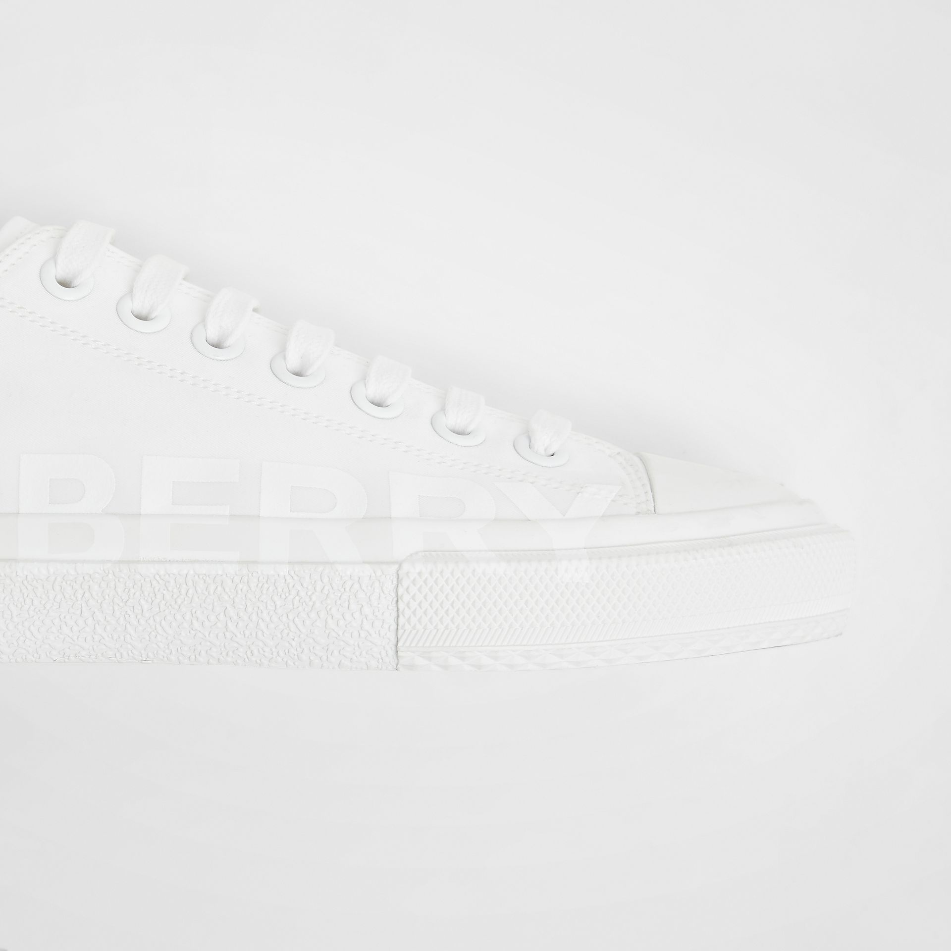 Women's Logo Print Cotton Gabardine Sneakers in Optic White - Women | Burberry - gallery image 3
