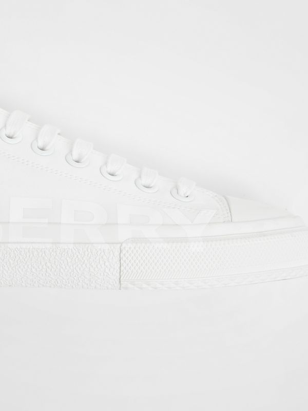 Women's Logo Print Cotton Gabardine Sneakers in Optic White - Women | Burberry Canada - cell image 3