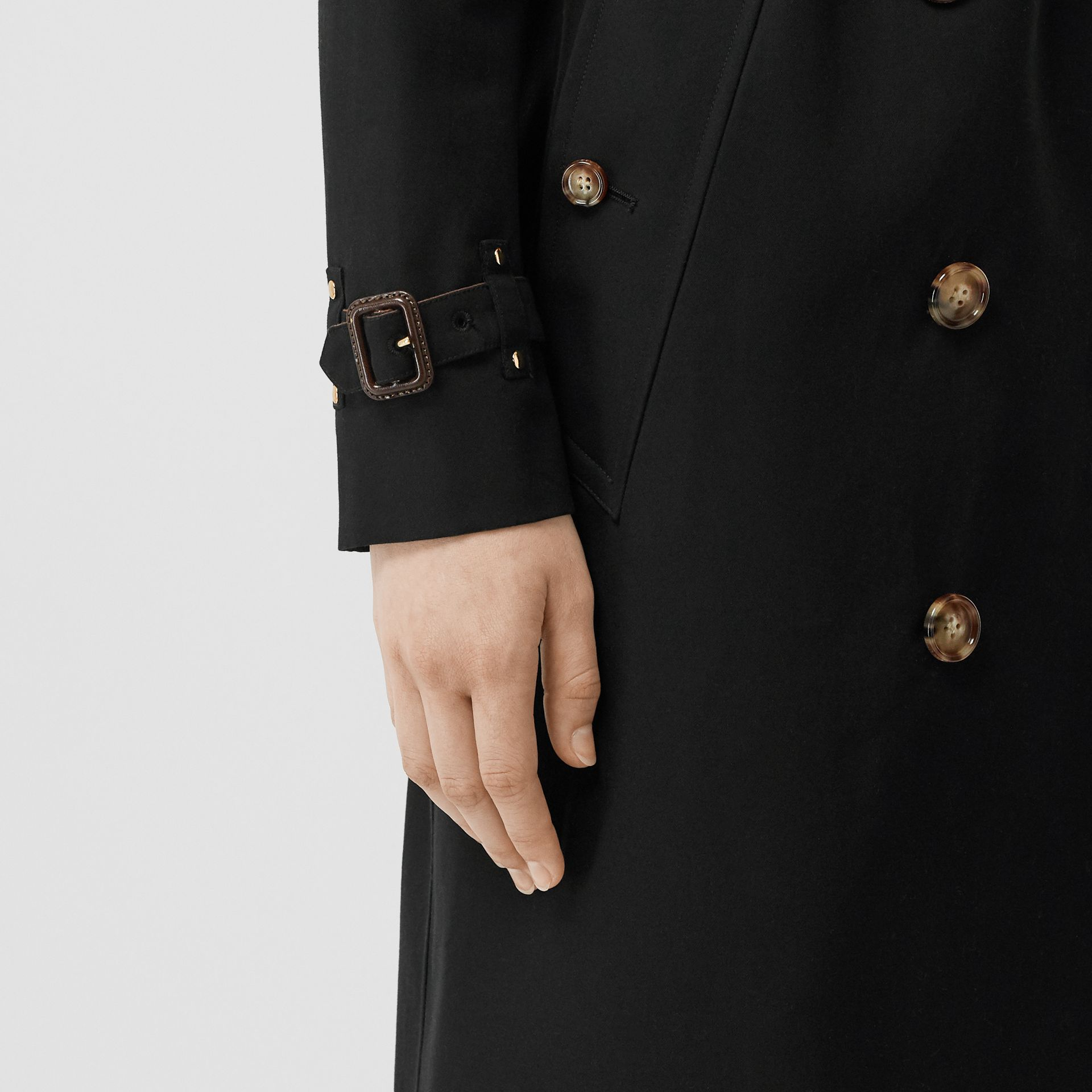 Two-tone Cotton Gabardine Trench Coat in Black - Women | Burberry Australia - gallery image 4