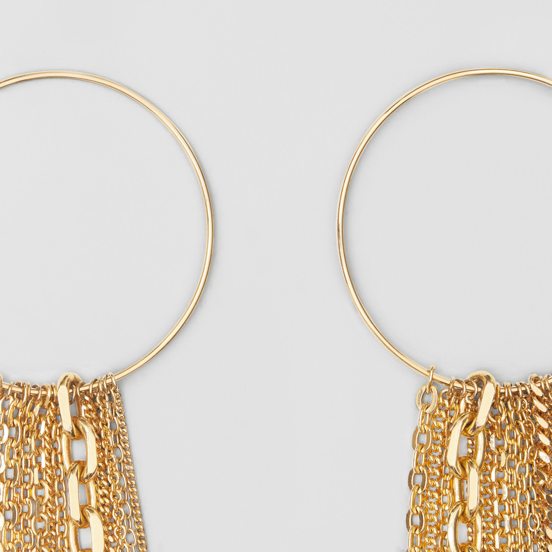 Chain Detail Gold-plated Hoop Earrings in Light | Burberry - gallery image 3