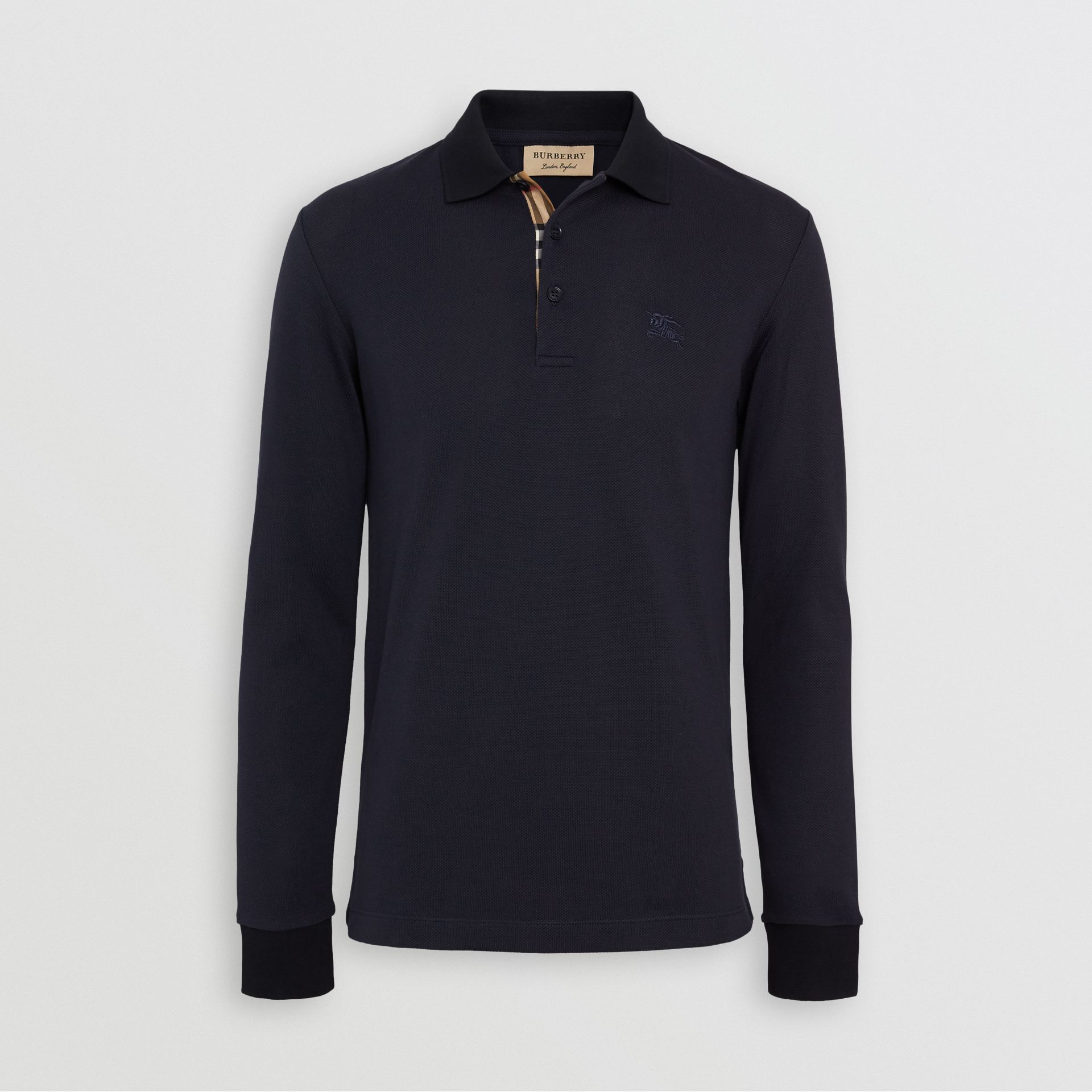 Long-sleeve Cotton Piqué Polo Shirt in Navy - Men | Burberry Australia - gallery image 3