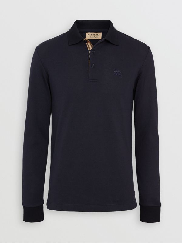 Long-sleeve Cotton Piqué Polo Shirt in Navy - Men | Burberry United Kingdom - cell image 3
