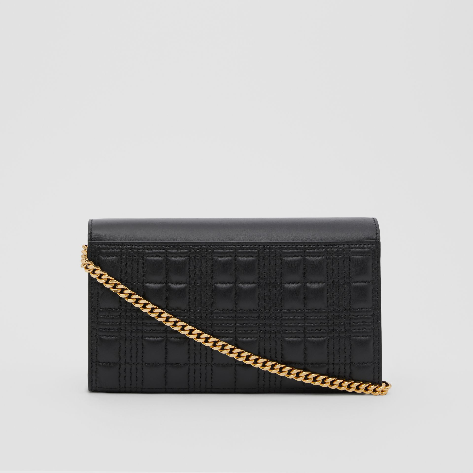 Quilted Lambskin Wallet with Detachable Chain Strap in Black - Women | Burberry United Kingdom - gallery image 7