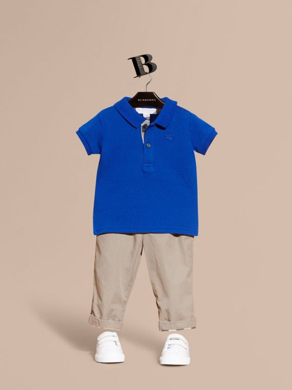 Cotton Piqué Polo Shirt Brilliant Blue