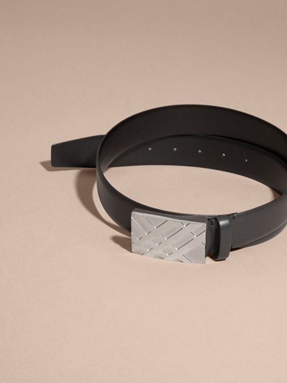 Check-embossed Buckle London Leather Belt in Black - Men | Burberry - cell image 3
