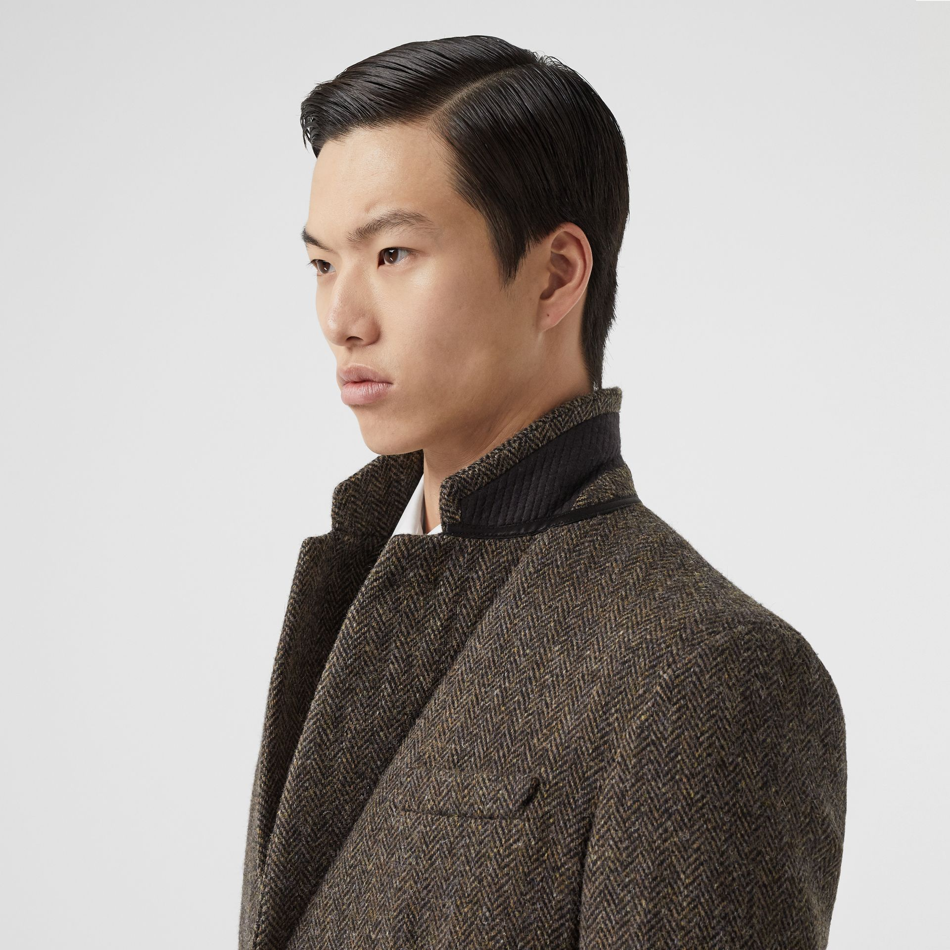 Herringbone Wool Tweed Coat in Brown - Men | Burberry Canada - gallery image 1