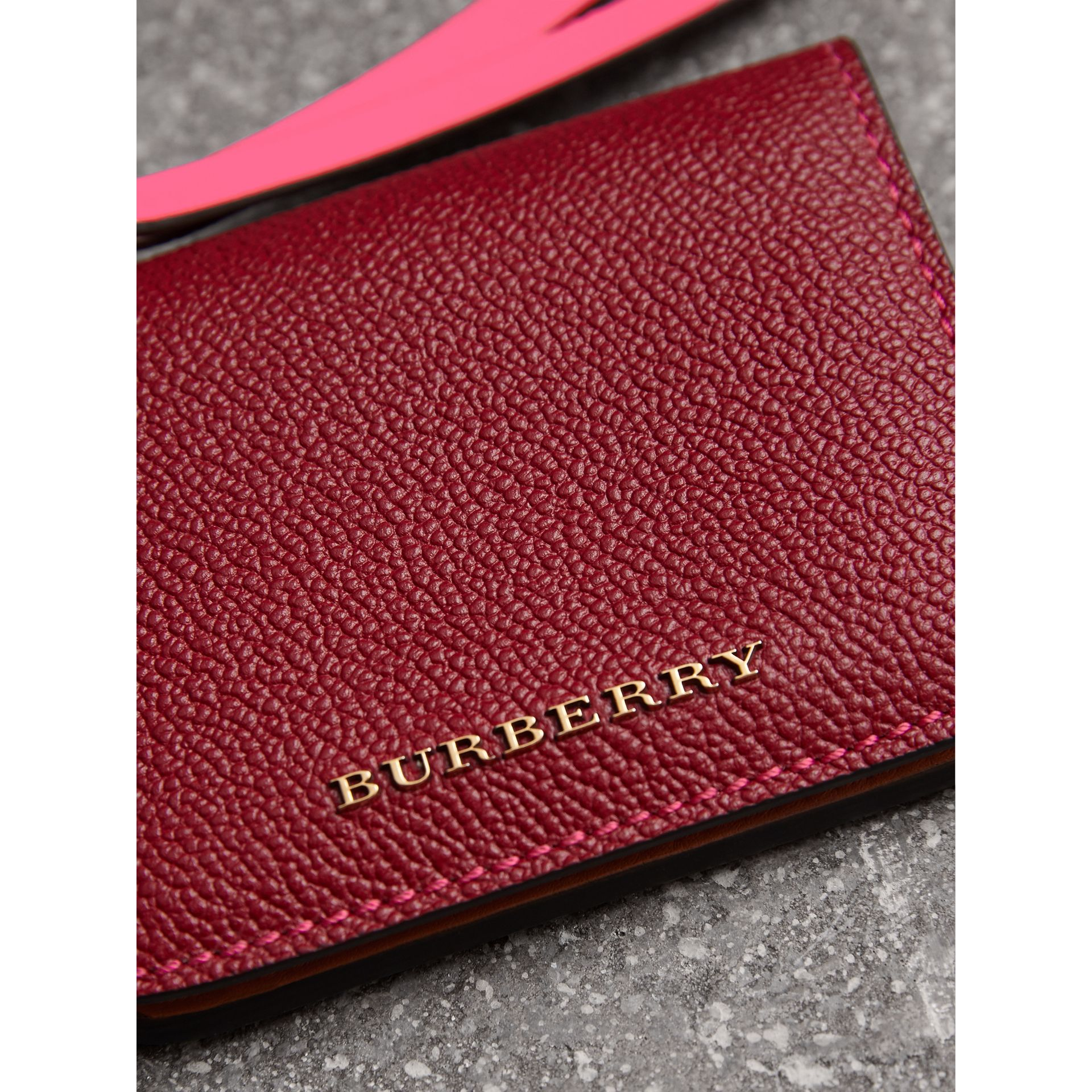 Leather and Haymarket Check ID Card Case Charm in Parade Red/multicolour - Women | Burberry - gallery image 1