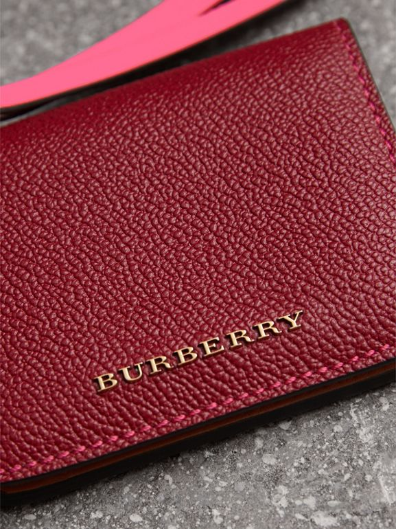 Leather and Haymarket Check ID Card Case Charm in Parade Red/multicolour - Women | Burberry - cell image 1