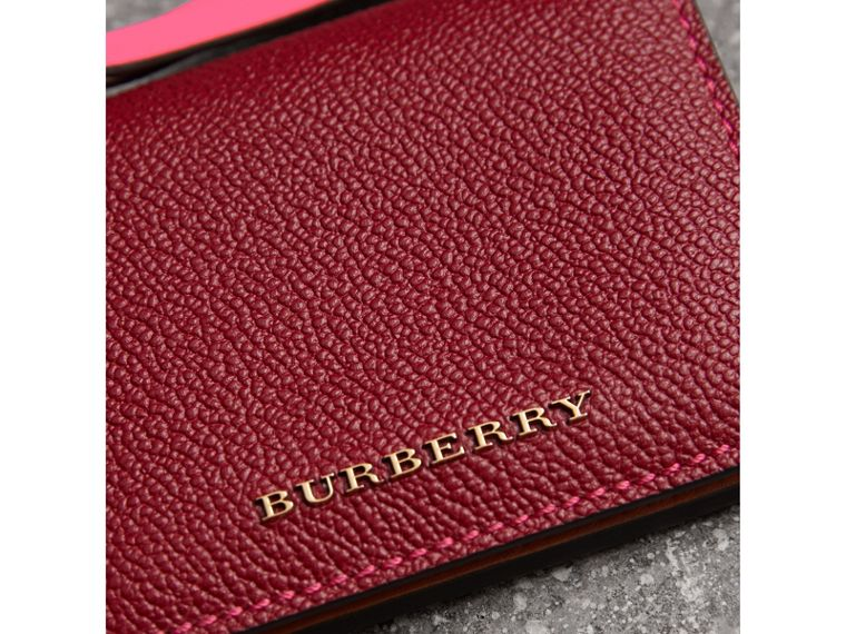 Leather and Haymarket Check ID Card Case Charm in Parade Red/multicolour - Women | Burberry Singapore - cell image 1