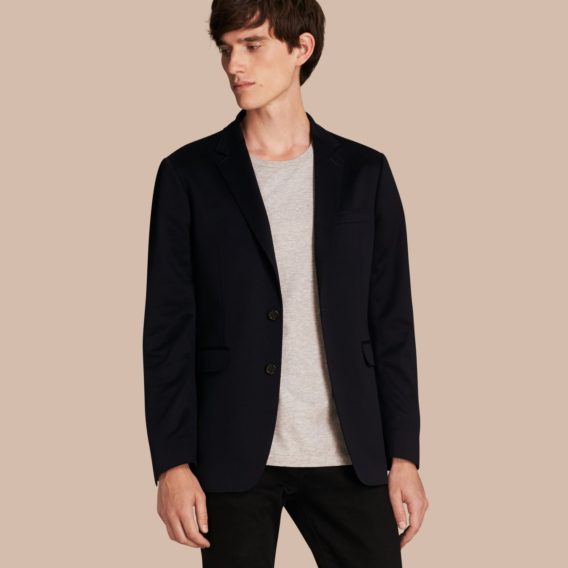 Navy Slim Fit Tailored Cotton Jersey Jacket Navy - gallery image 1