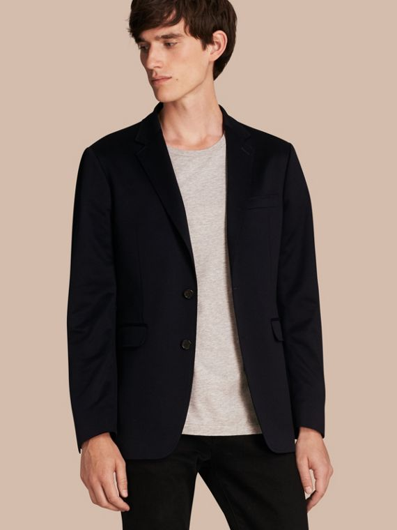 Slim Fit Tailored Cotton Jersey Jacket Navy