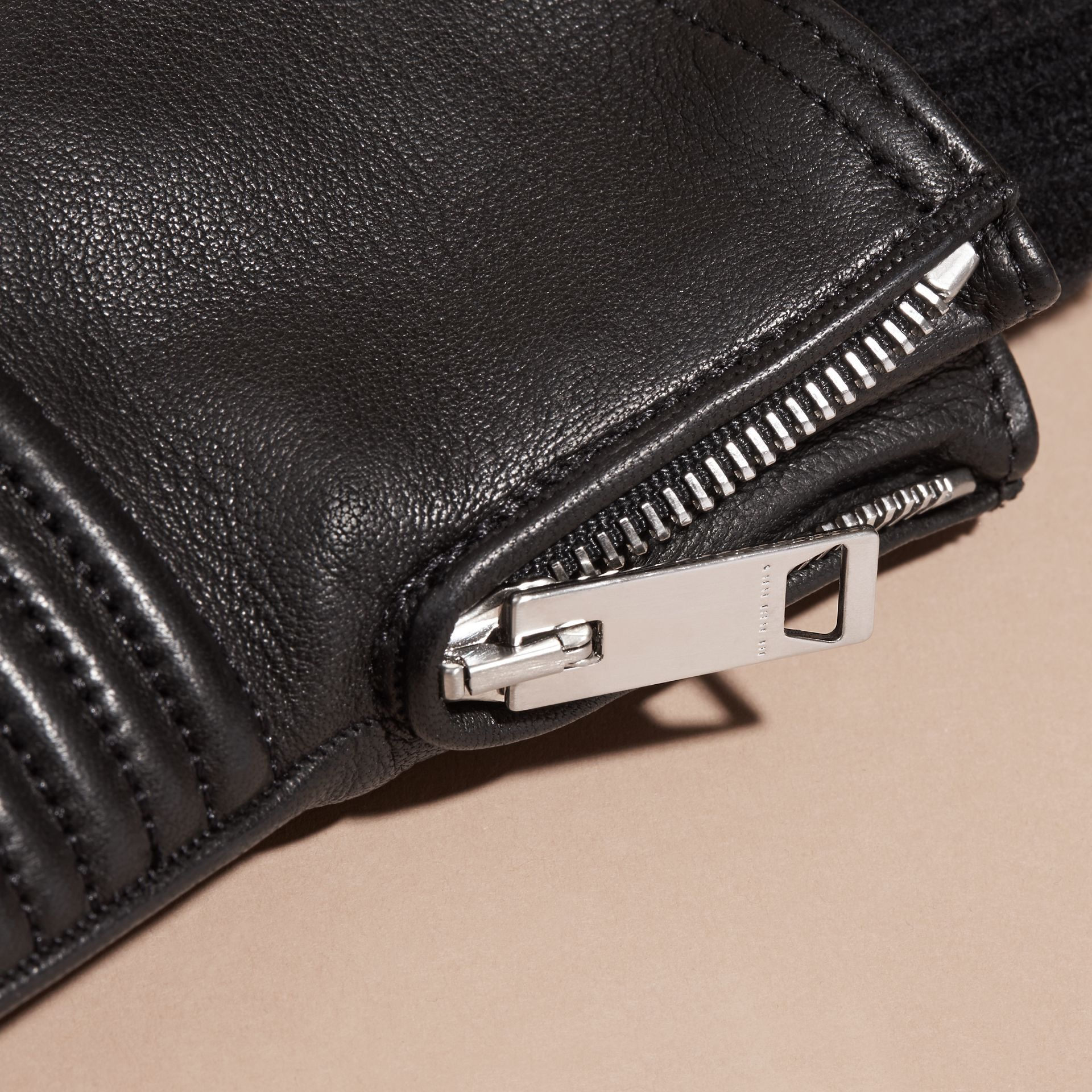 Biker Style Leather Gloves in Black - Men | Burberry - gallery image 2