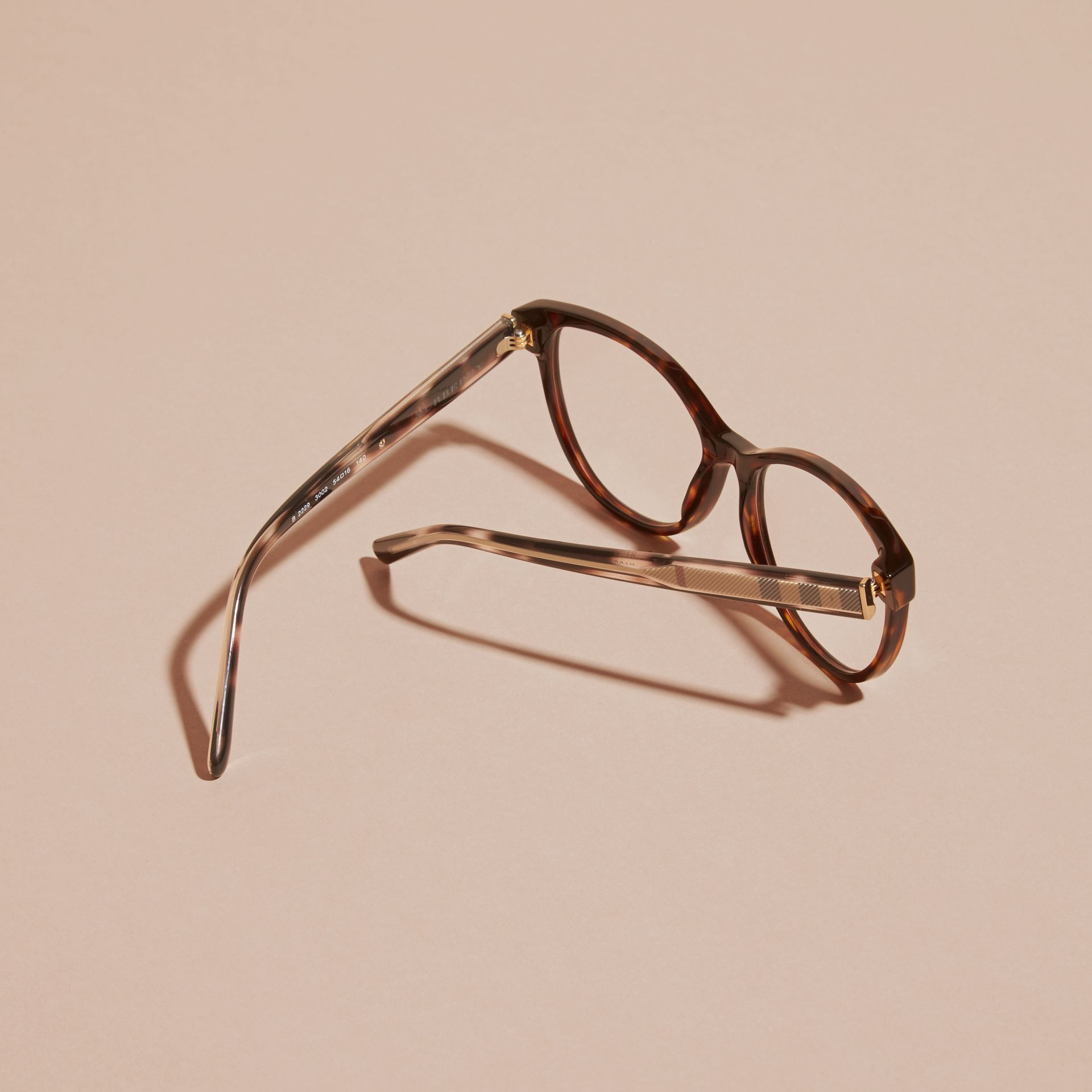 Light russet brown Check Detail Round Optical Frames Light Russet Brown - gallery image 4