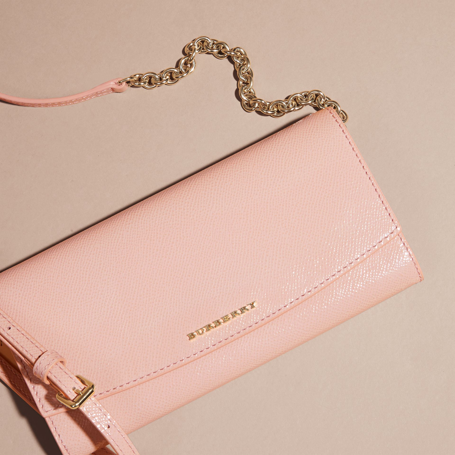 Leather Wallet with Chain in Ash Rose - gallery image 3