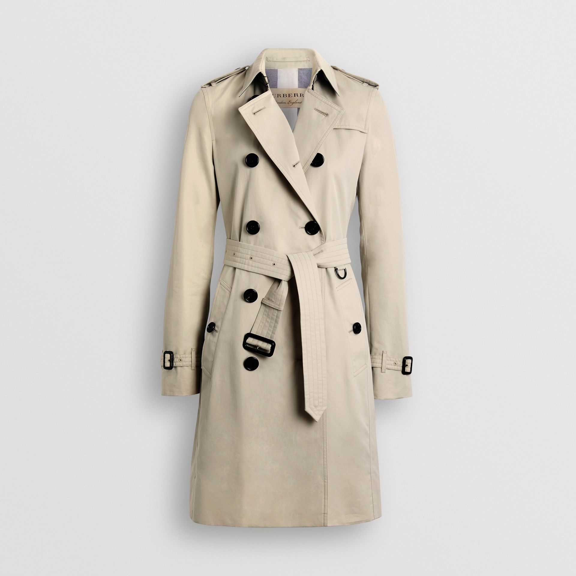 Kensington Fit Cotton Gabardine Trench Coat in Stone - Women | Burberry - gallery image 3