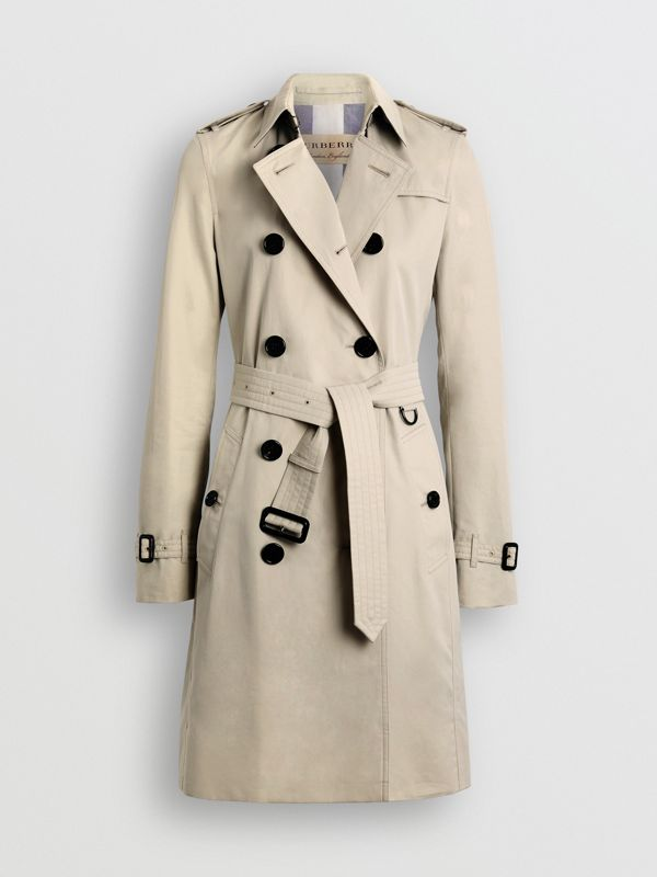 Kensington Fit Cotton Gabardine Trench Coat in Stone - Women | Burberry - cell image 3