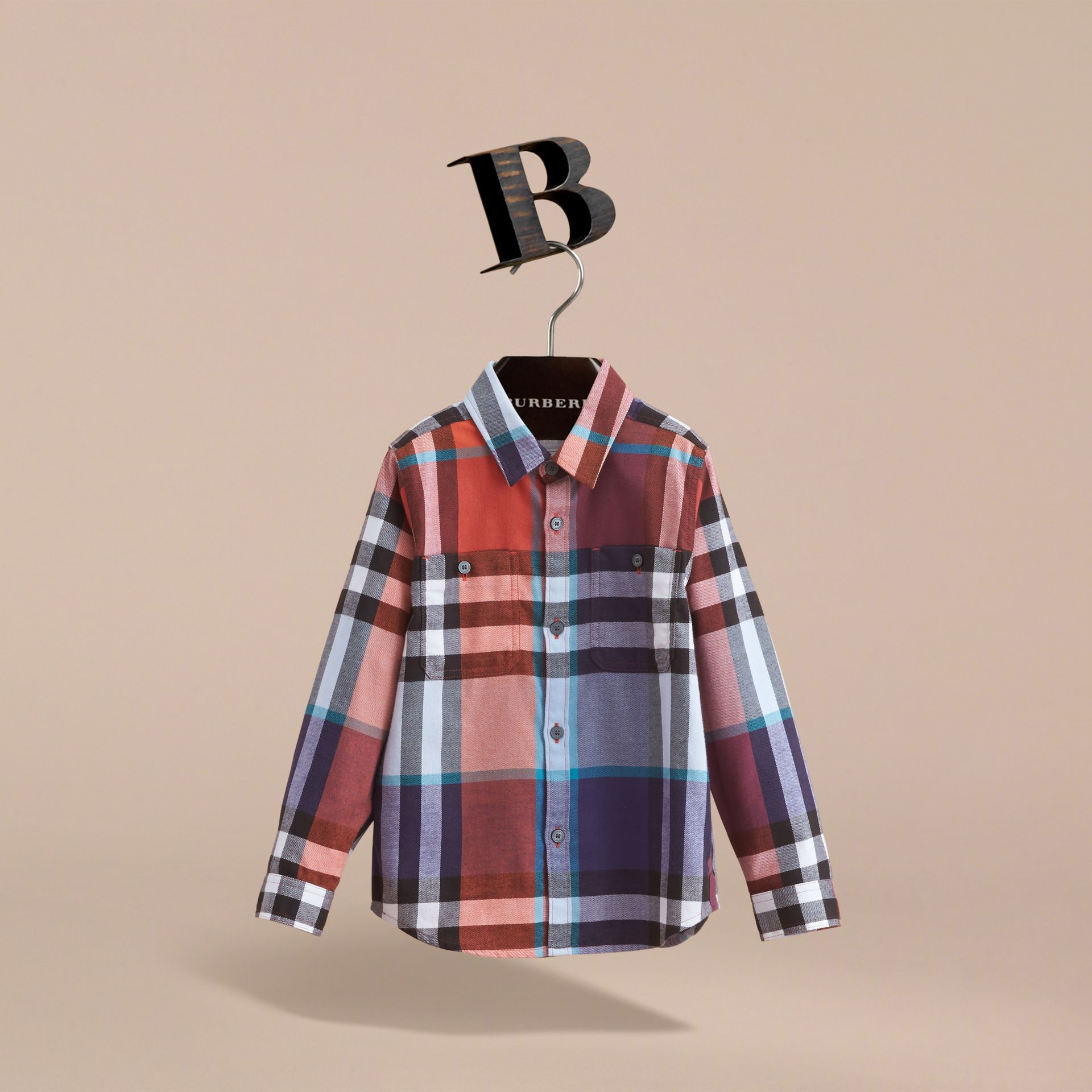 Pocket Detail Check Flannel Shirt in Orange Red - Boy | Burberry Canada - gallery image 3
