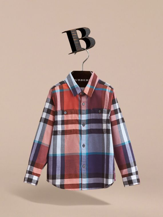 Pocket Detail Check Flannel Shirt in Orange Red - Boy | Burberry Canada - cell image 2