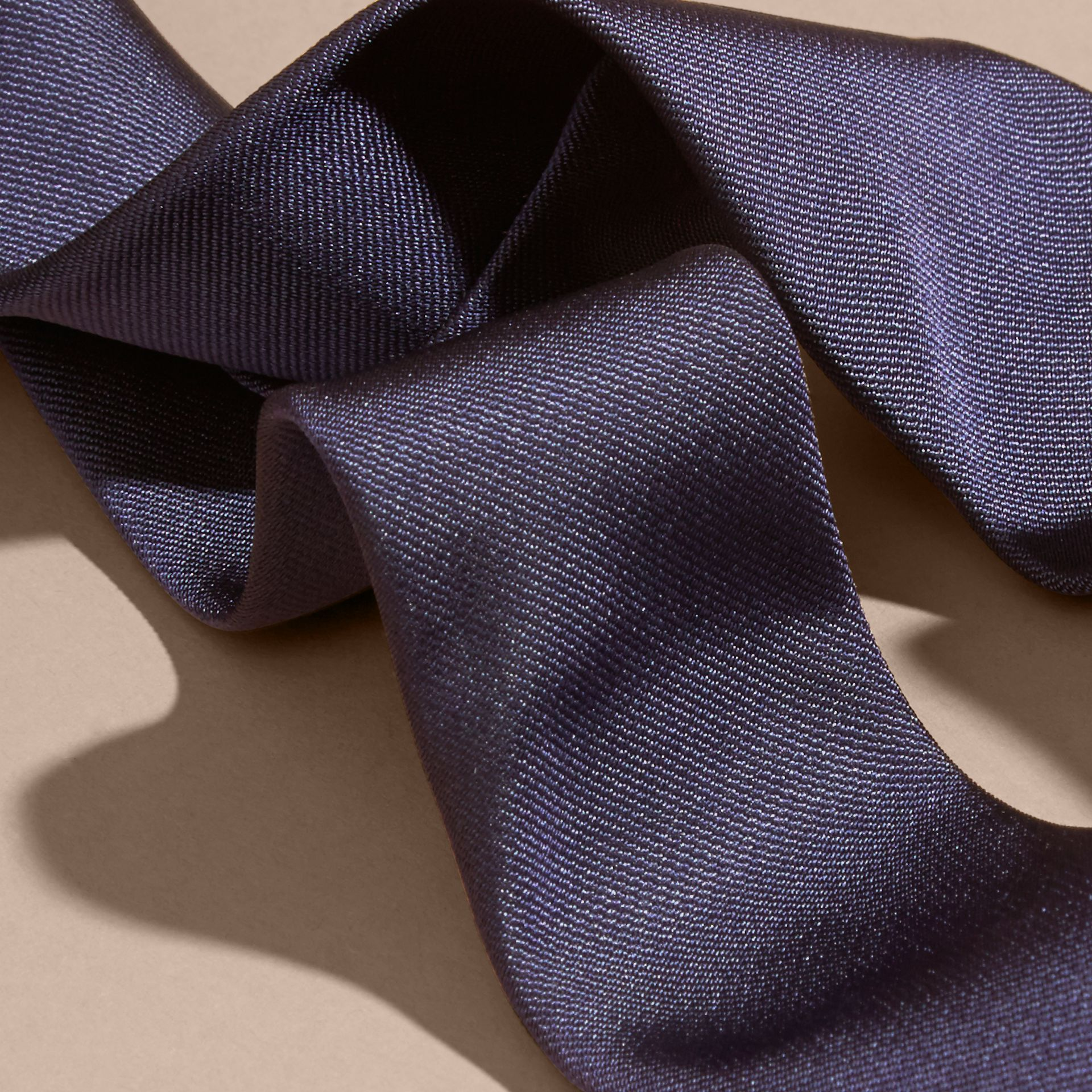 Navy Slim Cut Silk Twill Tie Navy - gallery image 2