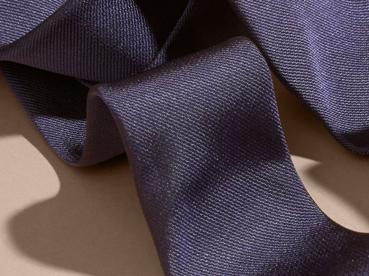 Navy Slim Cut Silk Twill Tie Navy - cell image 1