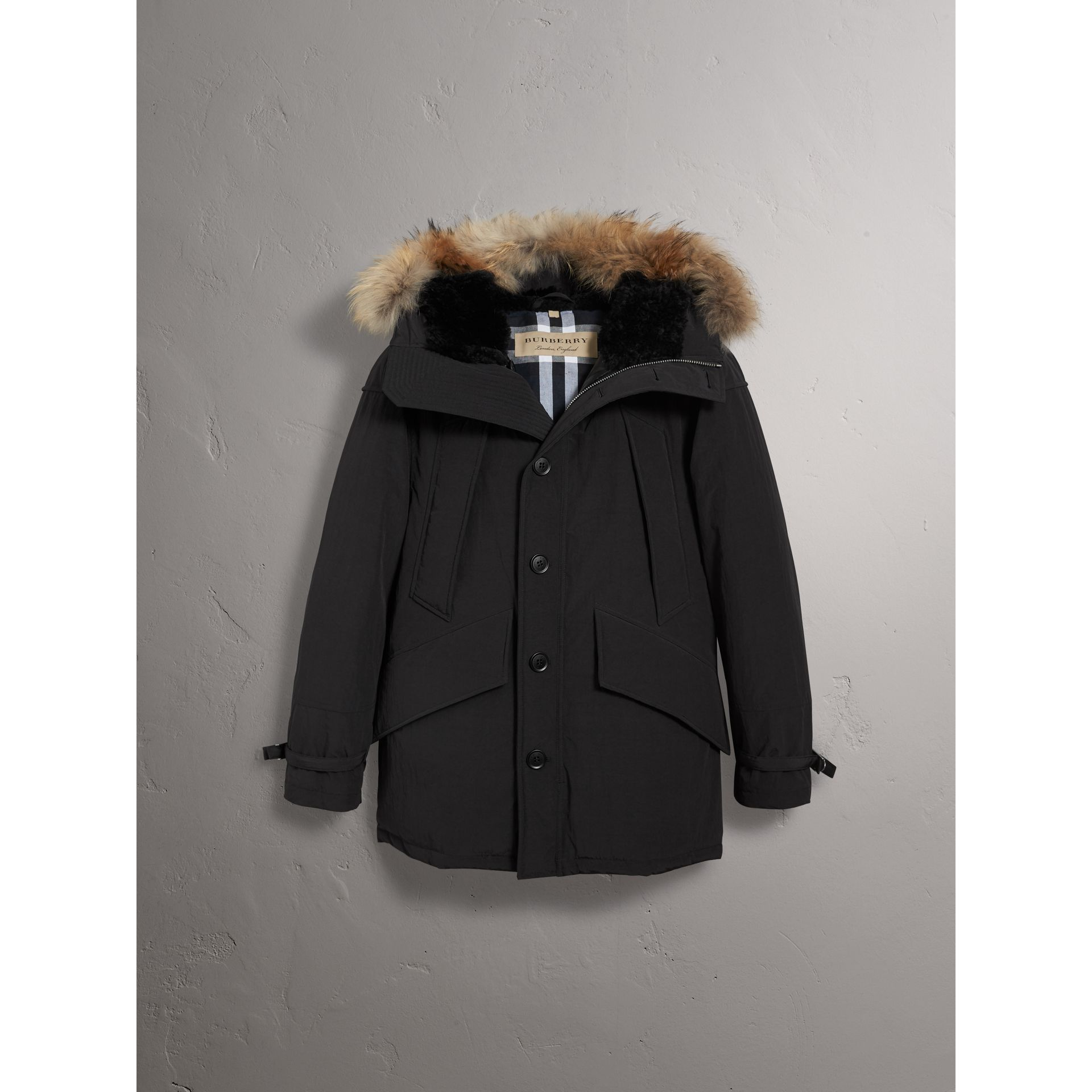 Raccoon Fur Trim Shearling Hood Down-filled Parka in Black - Men | Burberry United Kingdom - gallery image 3