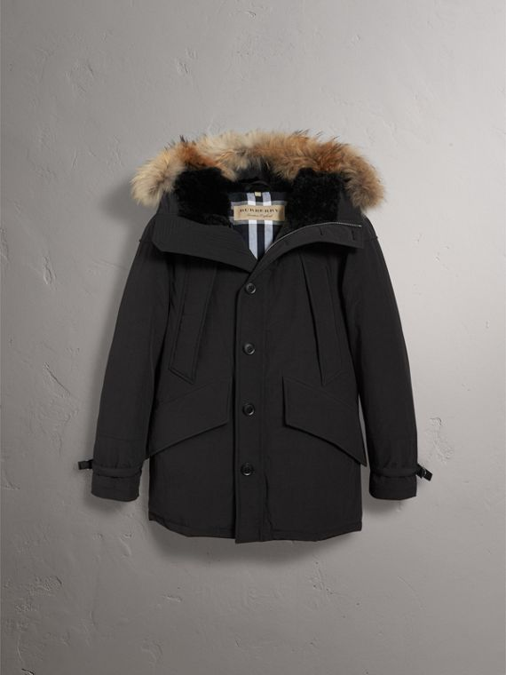 Raccoon Fur Trim Shearling Hood Down-filled Parka in Black - Men | Burberry - cell image 3