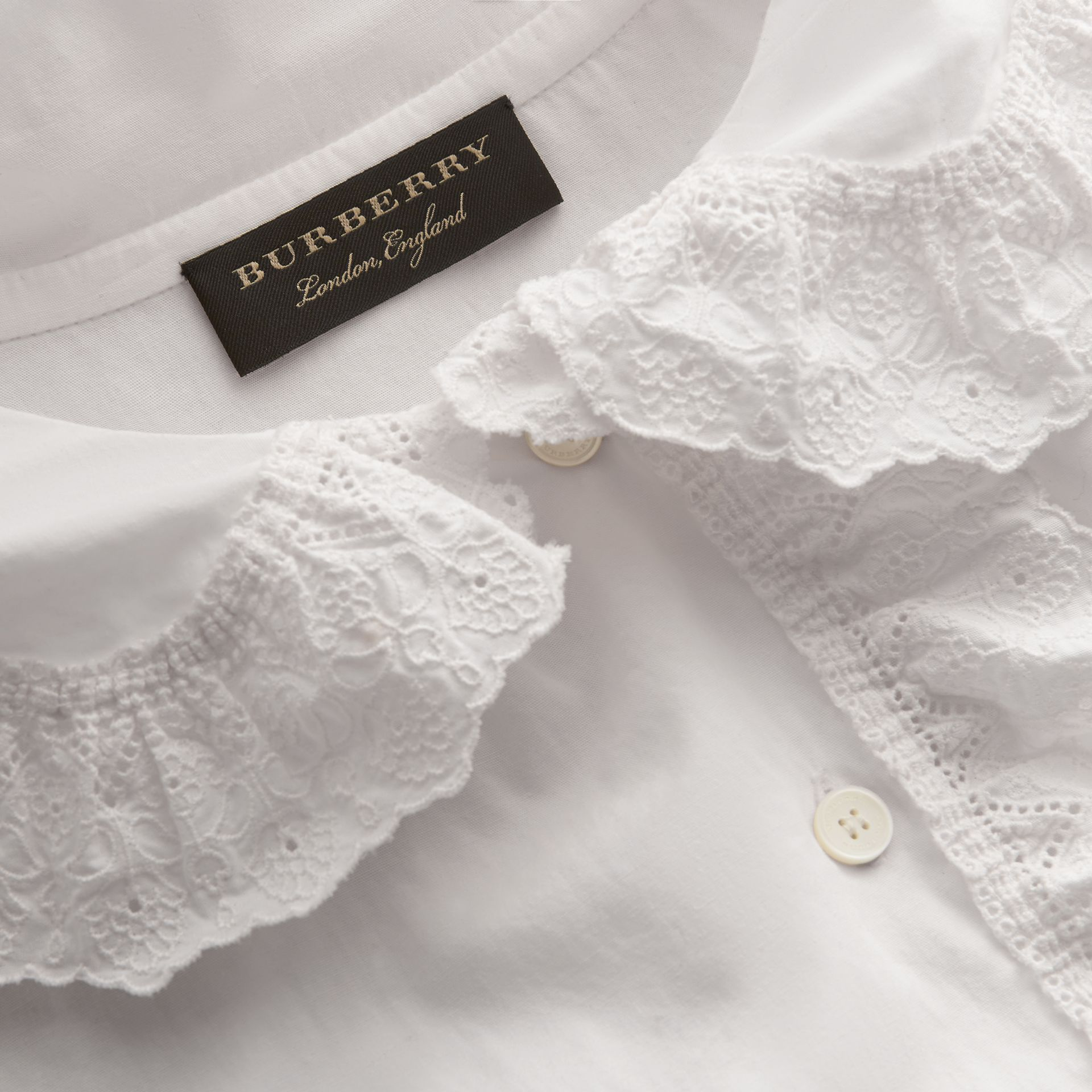 Broderie Anglaise Ruffle Cotton Poplin Shirt in White - Women | Burberry - gallery image 2