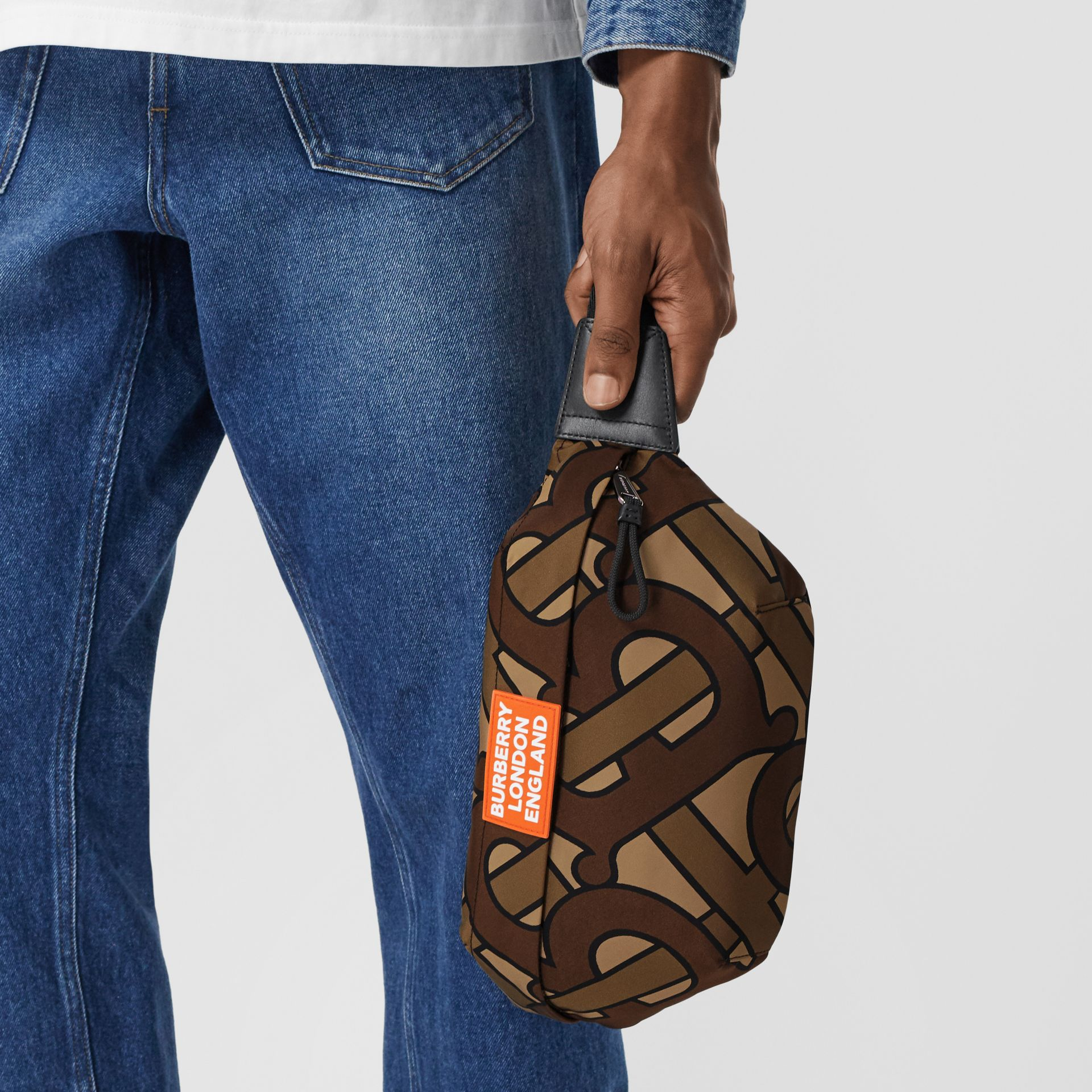 Monogram Print Nylon Sonny Bum Bag in Bridle Brown - Men | Burberry - gallery image 10