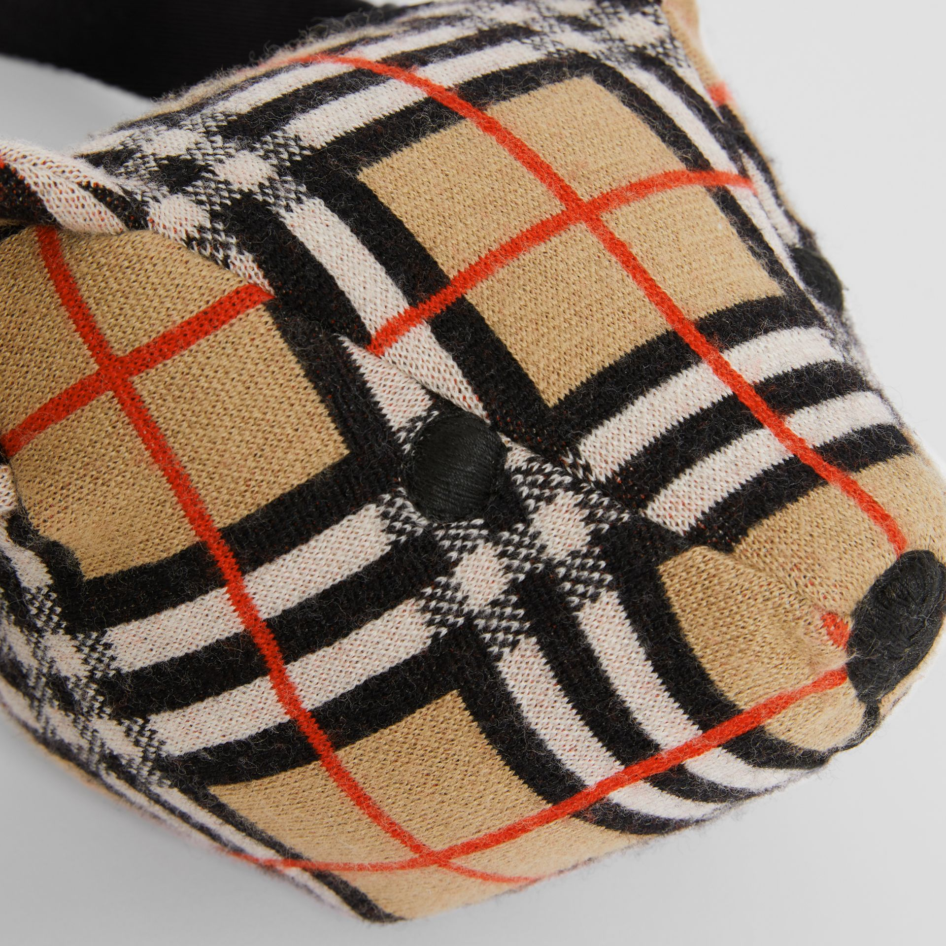 Thomas Bear Vintage Check Merino Wool Bum Bag in Archive Beige - Children | Burberry - gallery image 1