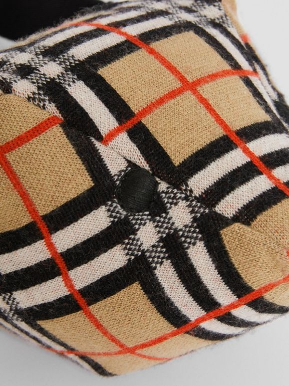 Thomas Bear Vintage Check Merino Wool Bum Bag in Archive Beige - Children | Burberry - cell image 1