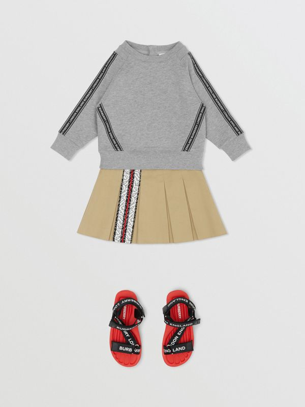 Logo Tape Cotton Sweatshirt in Grey Melange - Children | Burberry - cell image 2