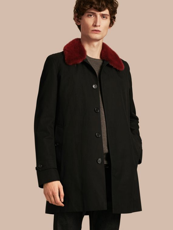 Cotton Car Coat with Detachable Mink Collar and Warmer