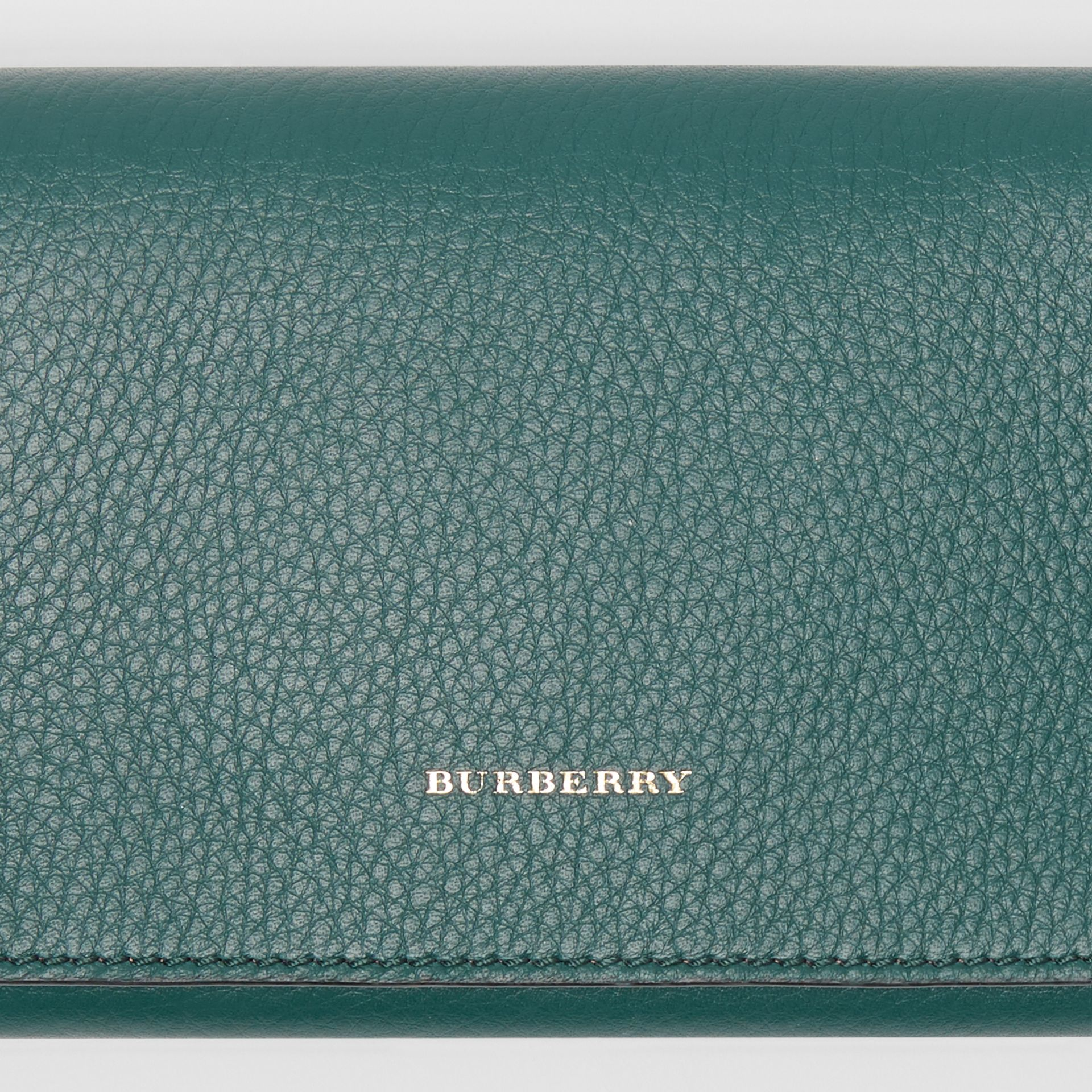 Two-tone Leather Continental Wallet in Dark Cyan - Women | Burberry United Kingdom - gallery image 1