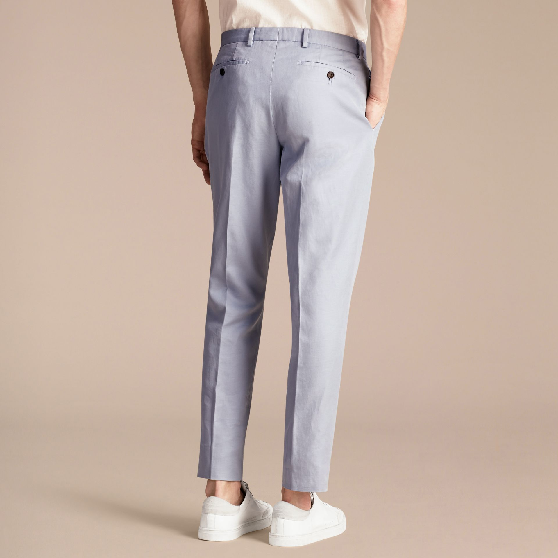 Slim Fit Cotton and Linen Trousers - gallery image 2